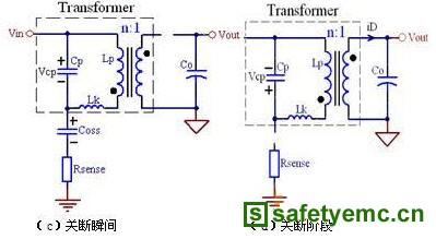 该电流经变压器耦合到原边侧,也会形成流经开关管和vin的电流尖峰.