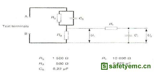 图为接触电路接触网络 将电热水器样品的电热管金属外壁人为损坏,并将样品接线端子处的地线断开,然后,按图1(单相输入)或图2(三相输入)接线,调整调压器的电压,使热水器以额定电压通电工作。用带有图2所示的人工网络泄漏电流仪进行测试,选择适当的量程(20mA档),一个人拿一个尺寸为20cm×40cm金属网筛,放入离热水器出水口10cm处,另一个人将泄漏电流的测试笔触及该金属网筛,读取并记录相应的数据,然后将测试探针分别触及热水器进出水管处外露的金属部件和热水器的金属外壳,分别记录相应的数据,当测