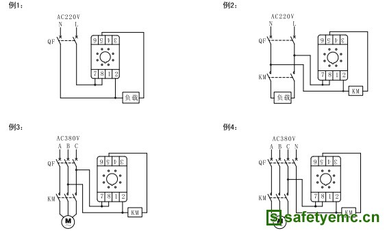 接线参考例2;三相负载时,交流接触器和继电器电源为ac380v,接线参考例