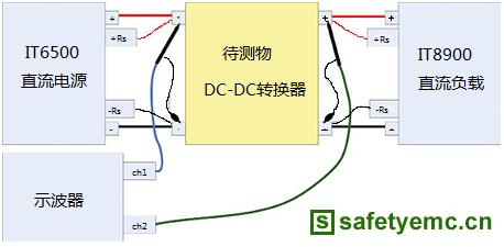 图三、DC-DC转换器的测试接线