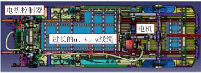 图4某车型前期不合理的电机系统布局图