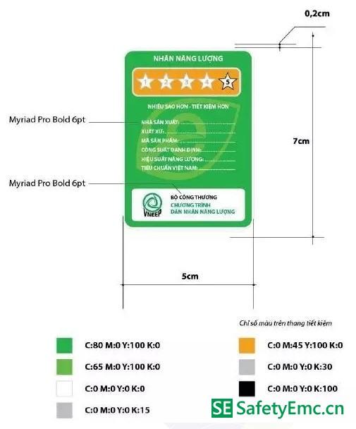 越南能效标签样式及尺寸要求