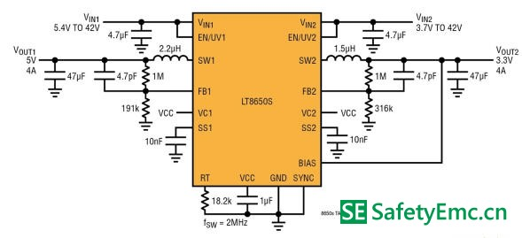 汽车ADAS需要EMI/EMC辐射很低的开关转换器