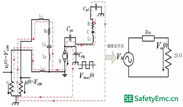 原边MOSFET 交流电压分量单独作用下的共模EMI 等效电路