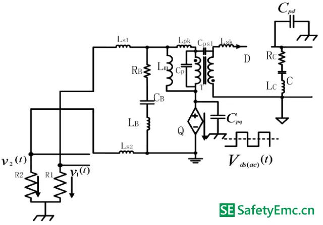 从差模EMI 在高频段的等效电路可知,差模等效电路的EMI 源除了和MOSFET电压波形、激磁电感、滤波电容的ESR 有关外,还与变压器、输入滤波电容和引线的其他寄生参数有关。这与在低频段时有很大的差别,同样的EMI 阻抗也与低频段有很大的差别。 (1)-B 原边MOSFET 交流电压分量单独作用下的共模EMI 等效电路