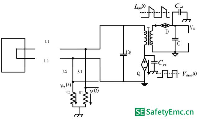 上图直流等效电路图中,电感l1 和l2 等效为短路,电容等效为开路.