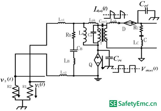 (1)原边mosfet 交流电压分量单独作用下的emi 等效电路