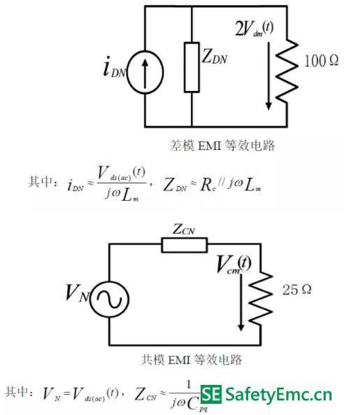 在原边MOSFET 交流电压分量单独作用下的EMI 最终等效电路
