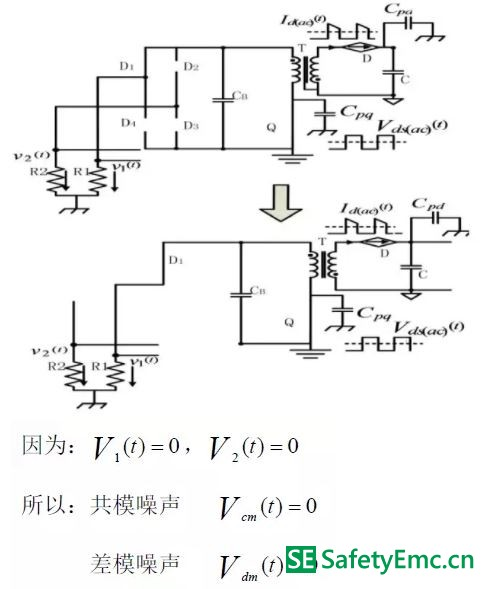 工作模式Ⅰ在副边二极管交流电流分量单独作用下的emi 最终等效电路