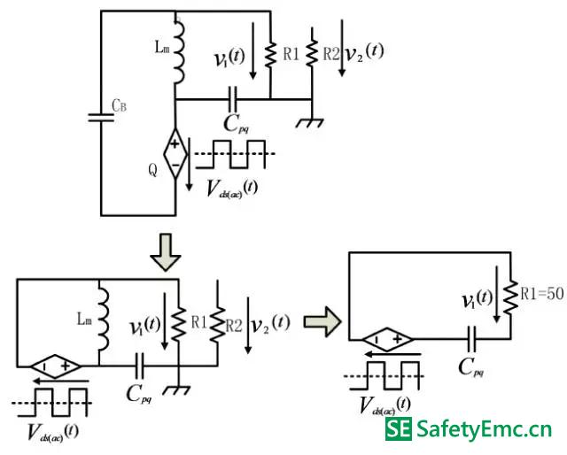 工作模式Ⅱ-Ⅱ在原边MOSFET 交流电压分量单独作用下的EMI 最终等效电路