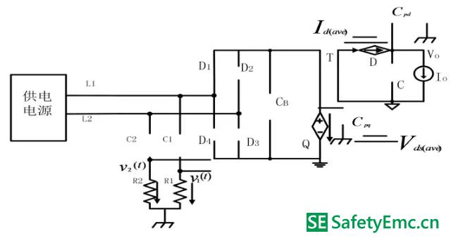 4-B-1:工作模式Ⅱ-Ⅱ在有LISN 时的等效受控源平均电路(直流等效)