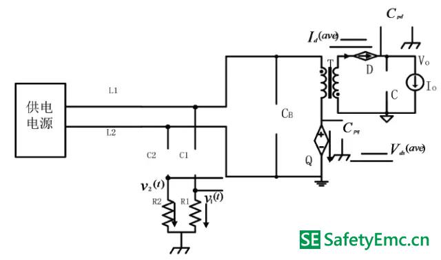 工作模式Ⅰ在有LISN 时的等效电路