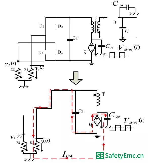 4-C-1:工作模式Ⅱ-Ⅱ在原边MOSFET 交流电压分量单独作用下的EMI 等效电路