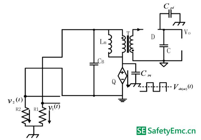 工作模式Ⅰ在原边MOSFET 交流电压分量单独作用下的EMI 等效电路