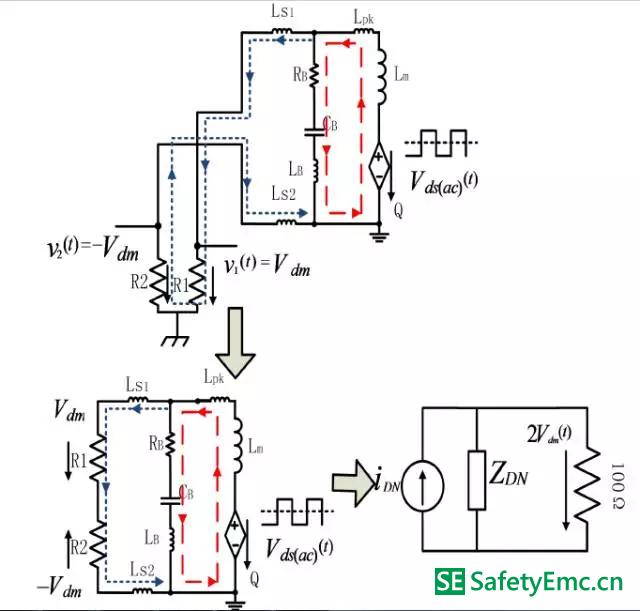 原边mosfet 交流电压分量单独作用下的差模emi 等效电路从