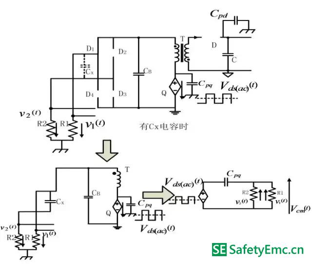 工作模式Ⅱ-Ⅱ在原边MOSFET 交流电压分量单独作用下的EMI 等效电路