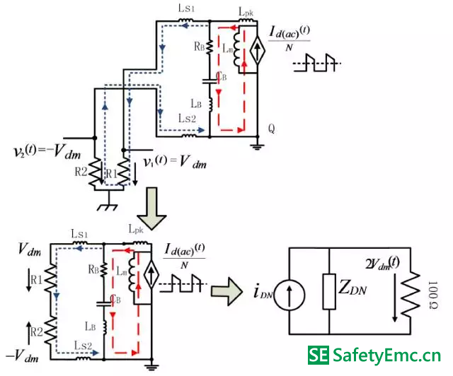 副边二极管交流电流分量单独作用下的差模emi 等效电路
