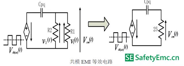 工作模式Ⅰ在原边mosfet 交流电压分量单独作用下的emi 最终等效电路