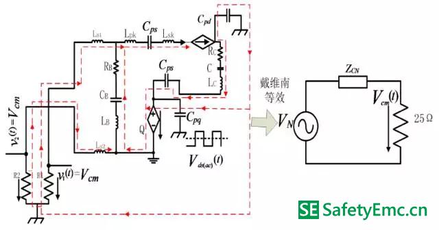 副边二极管交流分量单独作用下的共模EMI 的等效电路