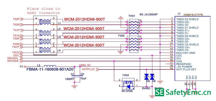 HDMI接口EMC设计标准电路