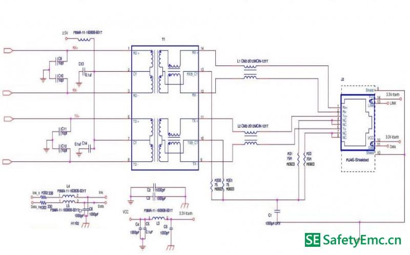 RJ45接口EMC设计标准电路